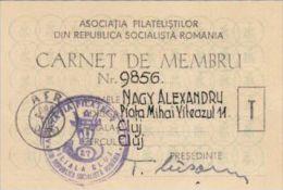 PHILATELIC SOCIETY MEMBERSHIP CARD, MEMBERSHIP FEE STAMPS, 1969, ROMANIA - Documents Historiques