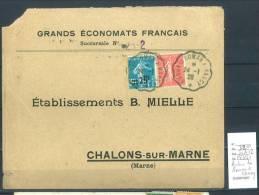 Lettre Cachet Convoyeur Audun Le Roman à  Nancy- Indice 12 - Postmark Collection (Covers)