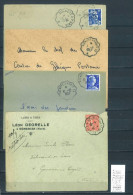Lettre Cachet Convoyeur Aulnoye à Paris  -à Laon - à Solre Le Chateau - 4  Piéces - Cachets Différents - Postmark Collection (Covers)