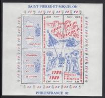 St Pierre Et Miquelon MNH Scott #517 Sheet Of 4 Plus 2 Labels - French Revolution Bicentenary - St.Pierre Et Miquelon