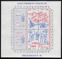 St Pierre Et Miquelon MNH Scott #517 Sheet Of 4 Plus 2 Labels - French Revolution Bicentenary - Révolution Française