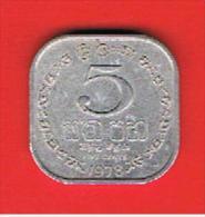 SRI LANKA -  5 Cents 1978 Circulada  KM139a - Sri Lanka
