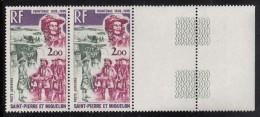 St Pierre Et Miquelon MNH Scott #C52 Margin Pair 2fr Frontenac - Explorers - Poste Aérienne