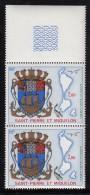 St Pierre Et Miquelon MNH Scott #C55 Margin Pair 2fr Arms, Map Of Islands, Fish, Bird - Poste Aérienne