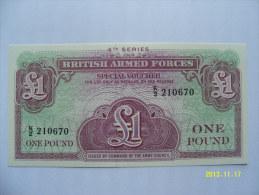 BANCONOTE   BRITISH ARMED FORCES  1  POUND     FIOR DI STAMPA - Forze Armate Britanniche & Docuementi Speciali