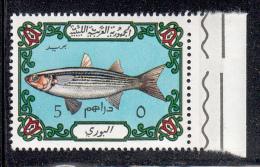 Libya MNH Scott #526 5d Fish, Light Blue Background - Libye