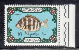 Libya MNH Scott #527 10d Fish, Light Blue Background - Libye
