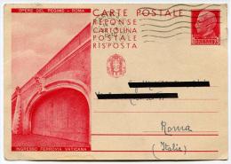 INTERO POSTALE CARTOLINA RISPOSTA OPERE DEL REGIME ROMA INGRESSO FERROVIA VATICANA ANNO 1940 - Stamped Stationery