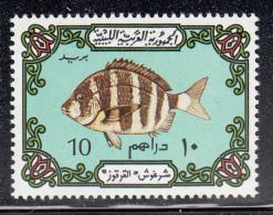 Libya MNH Scott #527a 10d Fish, Greenish Blue Background - Libya