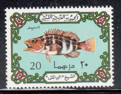 Libya MNH Scott #529a 20d Fish, Greenish Blue Background - Libye