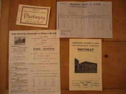 Ensemble De 4 Documents Photogay à Lyon Papiers Photographiques - Publicités