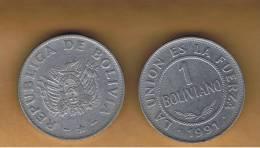 BOLIVIA - 1 Boliviano 1991  Circulada   KM205 - Bolivia