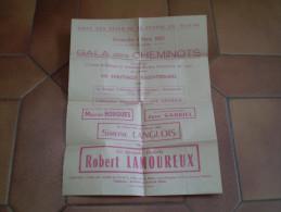 Affichette Gala Des Cheminots Avec Robert Lamoureux, Maurice Horgues, Les Georgis,Simone Langlois - Programma's