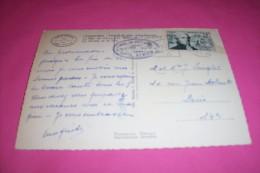 TIMBRE OBLITERATION FLAMME° CHAMONIX HOTEL DU MONTENVERS TIMBRE 12 Fr FLORIAN 1955 - Marcofilie (Brieven)