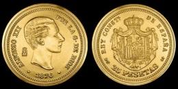ALFONSO XII 25 PESETAS 1.876  ORO MADRID  SC/UNC  Réplica    T-DL-10.846 - [ 1] …-1931 : Reino