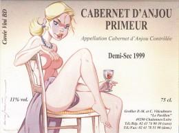 MINIAC. Cabernet D'Anjou Primeur, étiquette De Vin Cuvée Vini BD. Festival ANGERS 1999 Dans Le 49. épuisée ! - Objetos Publicitarios