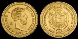 AMADEO I   100 PESETAS 1.871  ORO MADRID  SC/UNC  Réplica    T-DL-10.847 - [ 1] …-1931 : Reino