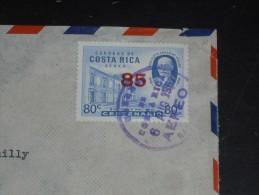 LETTRE COSTA RICA AVEC YT PA 334 - SURCHARGE - VIQUEZ - BIBLIOTHEQUE NATIONALE - - Costa Rica