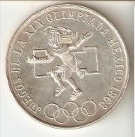 MONEDA DE PLATA DE MEXICO DE 25 PESOS DEL AÑO 1968- JUEGOS DE LA OLIMPIADA  (COIN) SILVER,ARGENT. - Mexico