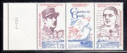 St Pierre Et Miquelon MNH Scott #548a Margin Pair With Centre Label Charles De Gaulle 1890-1970 - Neufs