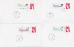 Lot De 4 Lettres - Vignettes CODE POSTAL Diff. DE METZ ET MONTIGNY-LES-METZ  Moselle  Affr Sabine De Gandon - Zipcode