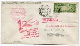 ETATS-UNIS LETTRE AVEC CACHET ILLUSTRE ROUGE DEUTSCHER KATAPULTFLUG D. EUROPA SOUTHAMPTON AM 21 SEPTEMBER 1930 + ....... - 1c. 1918-1940 Covers
