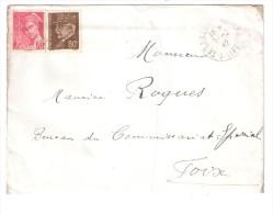 Lettre De TARASCON, Ariège, Avec Timbre Pétain 80 C Brun + Mercure 70 C Lilas > Commissariat Spécial Foix, 5.2.1942 - 1941-42 Pétain