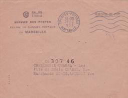 """Obl Méca  """"CHEQUES-POSTAUX MARSEILLE"""" Sur Lettre PTT CH.66 Franchise De Port - Bouches Du Rhone - Marcophilie (Lettres)"""