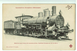 Locomotives Allemandes ,  Pour Train De Marchandises N°21 , Système Compound     (2 Scans ) - Eisenbahnen