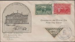O) 1937 COSTA RICA, BANANA PLANTATION, COFFEE, FISH, VEHICLE, NATIONAL THEATRE, FDC USED TO USA, XF - Costa Rica