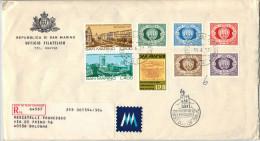 SAN MARINO - 1977 - Primi Francobolli + Volo Verticale + Bucarest - FDC - Ufficio Filatelico Governativo - RACCOMANDATA - FDC