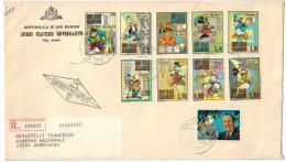SAN MARINO - 1970 - OMAGGIO A WALT DISNEY - FDC - Ufficio Filatelico Governativo - RACCOMANDATA - FDC