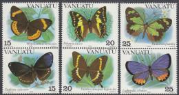 VANUATU, 1983 BUTTERFLIES 6 MNH - Vanuatu (1980-...)