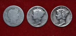 Lot De Trois One Dime - 1898 + 1923 + 1941 - Argent - Federal Issues