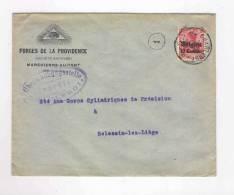 080/15 - BELGIQUE Francs Maçons - Lettre Censurée TP Germania CHARLEROI 1914/18 -  Forges De La Providence - Freemasonry