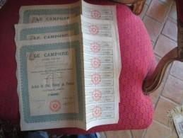 LOT 3 ACTIONS1907-  LE CAMPHRE  - CENT FRANCS - COMPLET AVEC COUPONS - Parfums & Beauté