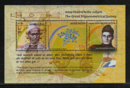 India 2004  Physics  The Great Trigonometrical Survey  Souvenir Sheet # 62604 Inde Indien - Physics