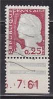 = Coin Daté 1 Timbre  0.25 N°1263 Oblitéré ...7.61 Type Marianne De Décaris - 1960-1969