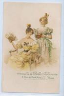 PUBLICITE SOUVENIR DE LA BELLE JARDINIERE, PARIS - Femme à L'Eventail Et Femme à La Lecture - Pubblicitari