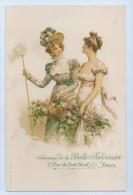 PUBLICITE SOUVENIR DE LA BELLE JARDINIERE, PARIS - Deux Femmes Avec Filet à Papillons - Reclame