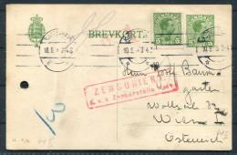 1918 Denmark Copenhagen Uprated Stationery Censor - Wien Austria / K.u.K. Zensuriert Brevkort - Covers & Documents