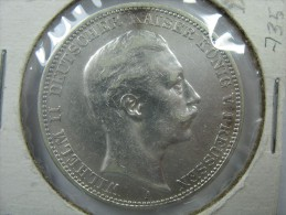 GERMANY PREUSSEN PRUSSIA 3 DREI MARK 1909  A  GRADE CHOICE AU SILVER - [ 2] 1871-1918 : Empire Allemand