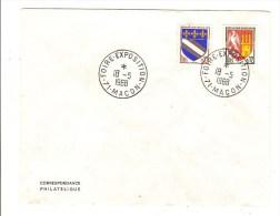 FRANCE - TIMBRES BLASON AGEN ET TROYES SUR ENVELOPPE AVEC CACHET FOIRE EXPOSITION MACON 1968 - Postmark Collection (Covers)