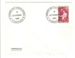 FRANCE - TIMBRE CROIX ROUGE MIGNARD SUR ENVELOPPE AVEC CACHET CONGRES PUERICULTRICES - MARSEILLE 1969 - PUERICULTURE - Postmark Collection (Covers)