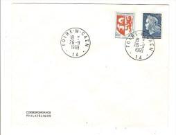 FRANCE - TIMBRES BLASON AUCH ET MARIANNE CHEFFER SUR ENVELOPPE AVEC CACHET FOIRE DE CAEN - 1969 - Postmark Collection (Covers)