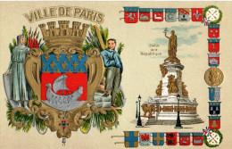 Ville De Paris.Armoirie.Carte Gaufrée.Bel Etat. - Frankrijk