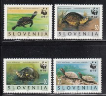 Slovenia MNH Scott #247a-#247d Set Of 4 Different Emys Orbicularis - Turtles - World Wildlife Fund - Slovénie
