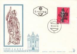 """1963, FDC """"100 Jahre Freiwillige Feuerwehren In Österreich"""" M. Schmuckkuvert U. E.-TStp. - Feuerwehr"""