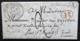 CACHET Type 14 + Boite Rurale  --  PIERRELATTE   --  DROME  --  LAC  --  1837  --  INDICE 4+ - Storia Postale