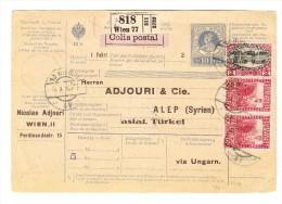 Paket-Ganzsache Mit Zusatzfrankatur Von Wien Nach Alep As.Türkei Via Ungarn - Briefe U. Dokumente